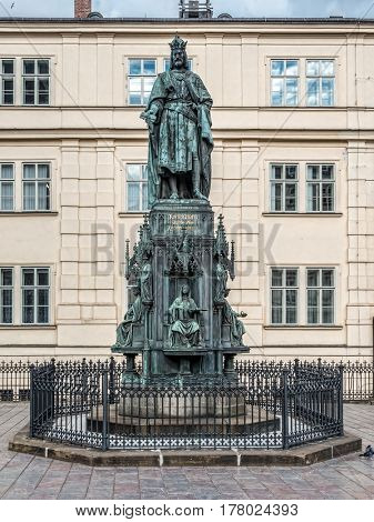 PRAGUE, CZECH REPUBLIC - MARCH 7 2017: Neo-gothic monument of Charles IV, Prague, Czech Republic