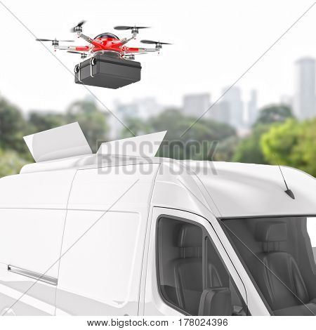 drone and delivery van 3d rendering image