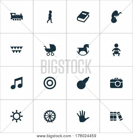 Vector Illustration Set Of Simple Kid Icons. Elements Melody, Ferris Wheel, Start Walk And Other Synonyms Wheel, Festival And Holidays.