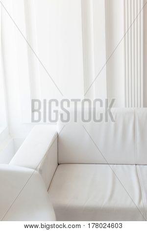 Light minimalist laconic interior with white walls white sofa large windows. Daylight vertical shot.