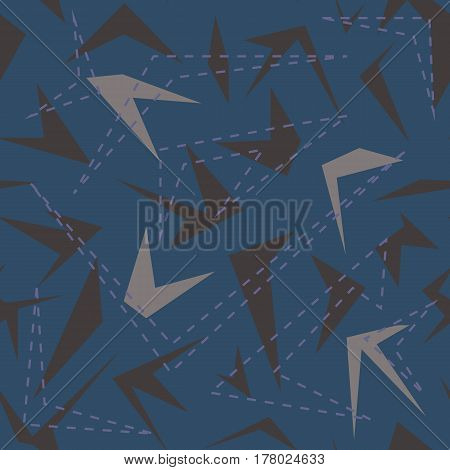 Seamless geometrical pattern with polygons and dotted lines