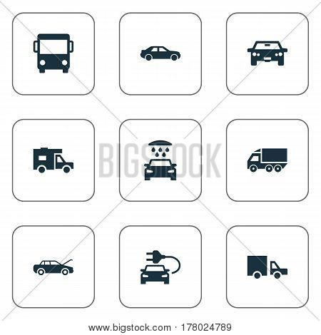 Vector Illustration Set Of Simple Transport Icons. Elements Lorry Stop, Transport Cleaning, Repairing Service And Other Synonyms Fixing, Delivery And Car.