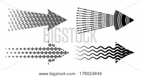 Arrow set textured. Various symbols arrow collection. Creative set of 4 black detailed arrows.
