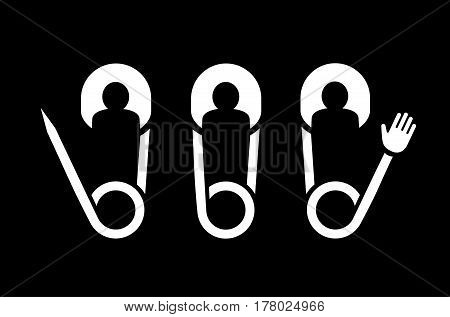 Clip pin peoples team creative symbols icons. Logo symbol icon of people as clips with hands team.