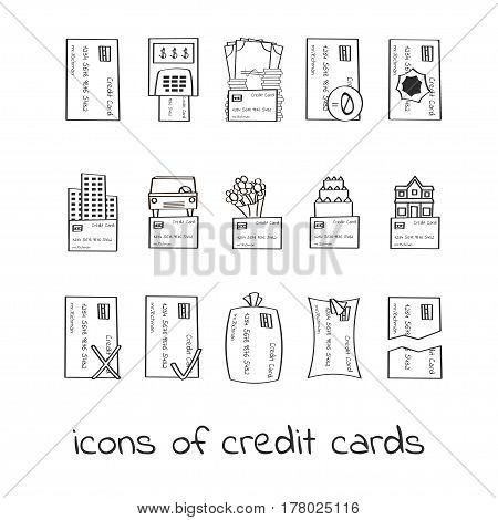 Hand draw credit card icons. Collection of Linear signs of loans. For web and app design