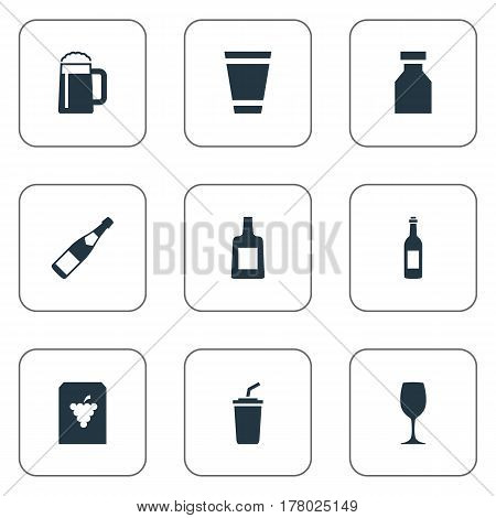Vector Illustration Set Of Simple Water Icons. Elements Pub, Plastic Mug, Liquor And Other Synonyms Water, Flask And Drugs.
