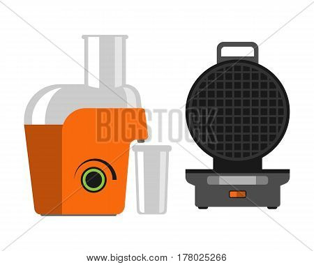 Electric orange juicer isolated on white background kitchen drink fresh machine waffle maker and citrus juicing smoothie squeezer making vector illustration. Home freshness household appliance.