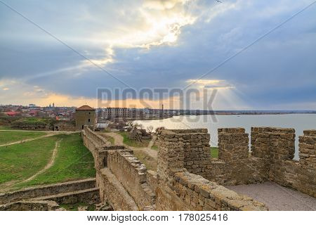 Akkerman fortress and belgorod city during sunset in Odessa Ukraine