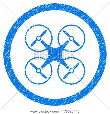 Copter grainy textured icon inside circle for overlay watermark stamps. Flat symbol with dust texture. Circled dotted vector blue ink rubber seal stamp with grunge design on a white background.