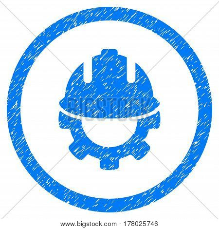 Development grainy textured icon inside circle for overlay watermark stamps. Flat symbol with dust texture. Circled dotted vector blue ink rubber seal stamp with grunge design on a white background.