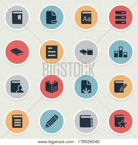 Vector Illustration Set Of Simple Knowledge Icons. Elements Notepad, List, Page Removing And Other Synonyms Open, Author And Writing.