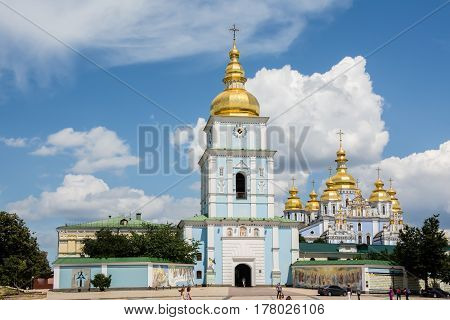 KYIV UKRAINE - JUL 3, 2015: St. Michael's Golden Domed Monastery. Comprises the cathedral itself in Kiev the capital of Ukraine. Famous religious place in Ukraine