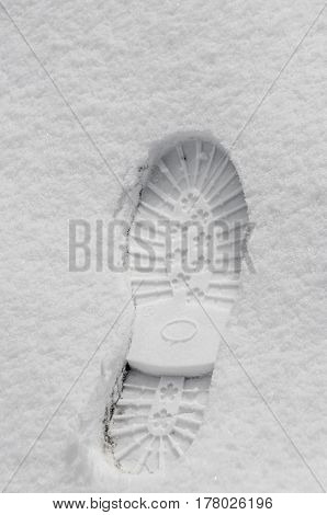 Footsteps In The Snow, Boot Mark Close Up Outdoor
