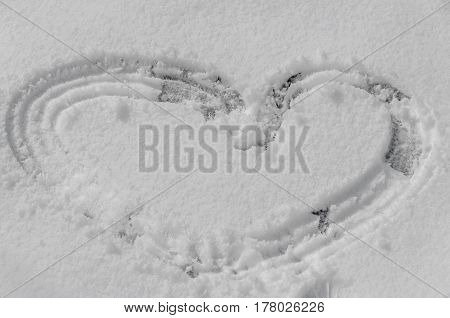 Heart Shape In The Snow, Boot Mark Close Up Outdoor