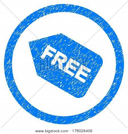 Free Sticker grainy textured icon inside circle for overlay watermark stamps. Flat symbol with unclean texture.