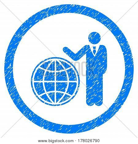 Global Manager grainy textured icon inside circle for overlay watermark stamps. Flat symbol with dust texture.