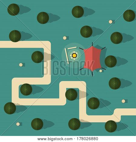 Forest top view. Camping with a tent and campfire. Trees and stumps in the vector. The path in the woods