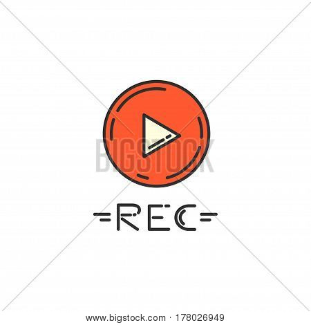 Vector Flat Icon Of Record Button. Suitable For Menus Of Recording And Video Recording Programs.