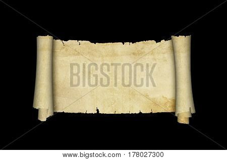 Antique parchment scroll with torn adges on black background.
