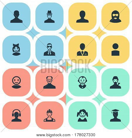Vector Illustration Set Of Simple Human Icons. Elements Male With Headphone, Spy, Whiskers Man And Other Synonyms Offender, Spy And Girl.