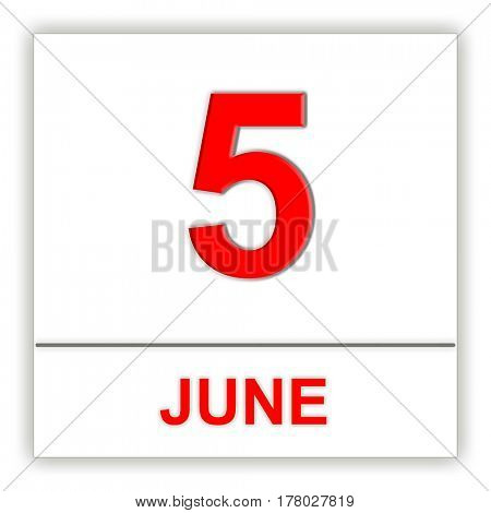 June 5. Day on the calendar. 3D illustration