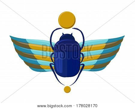 Egyptian bug-beetle with wings. Symbolism of ancient Egypt. Scarab beetle. Scarabaeus bug on white