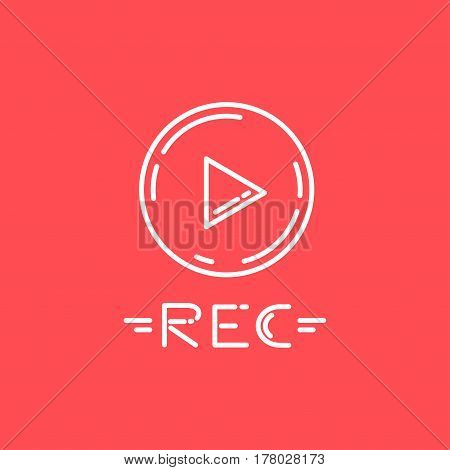 Vector Line Icon Of Record Button. Suitable For Menus Of Recording And Video Recording Programs.