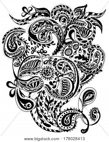 Abstract henna paisley vector illustration doodle design elements. Indian mehendi art. Coloring book page, zentangle art, design for spiritual relaxation and meditation for adults.