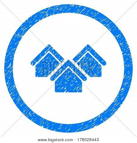 Real Estate grainy textured icon inside circle for overlay watermark stamps. Flat symbol with scratched texture.
