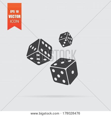 Dice Icon In Flat Style Isolated On Grey Background.