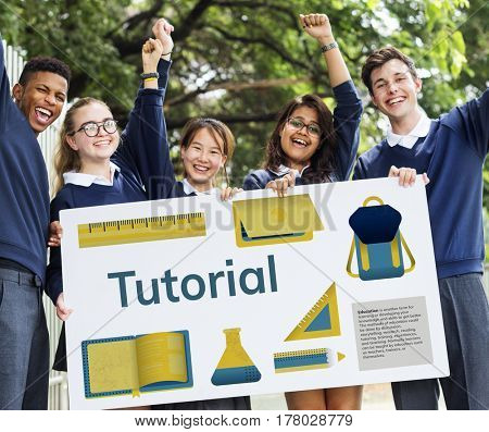Students holding network graphic overlay banner