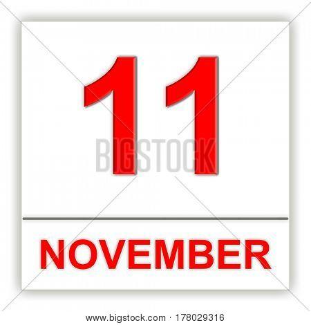 November 11. Day on the calendar. 3D illustration