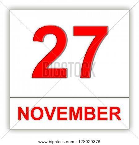 November 27. Day on the calendar. 3D illustration