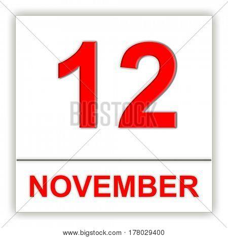 November 12. Day on the calendar. 3D illustration
