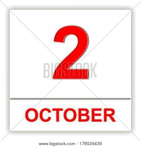 October 2. Day on the calendar. 3D illustration