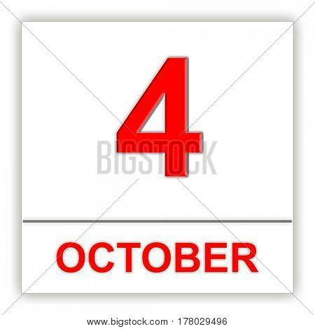 October 4. Day on the calendar. 3D illustration