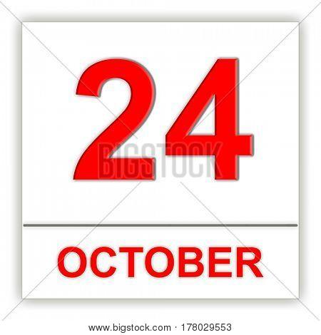 October 24. Day on the calendar. 3D illustration