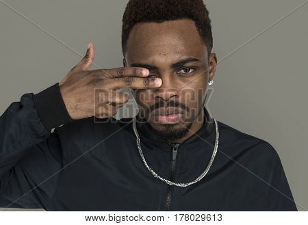 African Descent Man Serious Hand Gesture