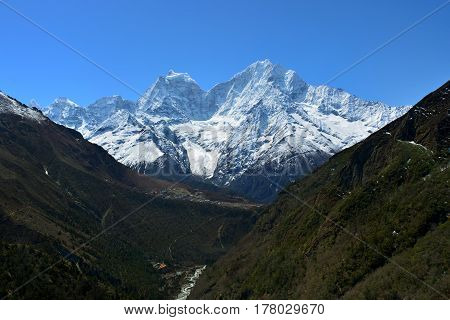 Majestic panoramic view of the Himalaya mountains on the way to Gokyo lakes Nepal.