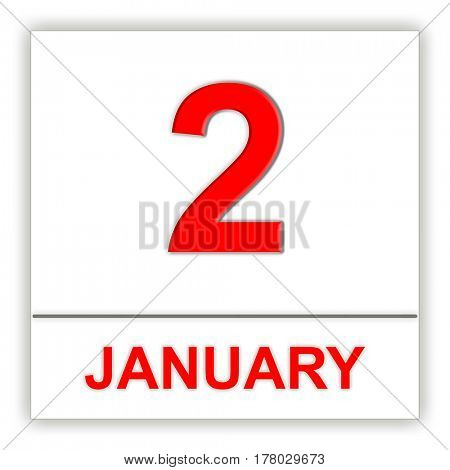 January 2. Day on the calendar. 3D illustration