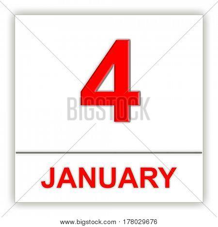 January 4. Day on the calendar. 3D illustration