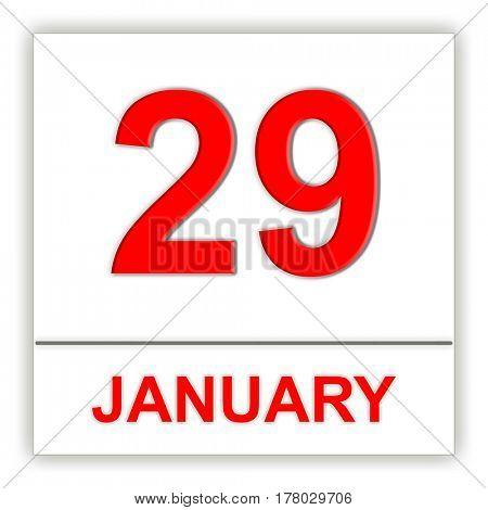 January 29. Day on the calendar. 3D illustration