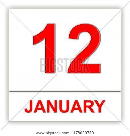 January 12. Day on the calendar. 3D illustration