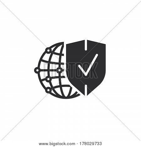 Network protection symbol. Globe and shield icon vector filled flat sign solid pictogram isolated on white logo illustration
