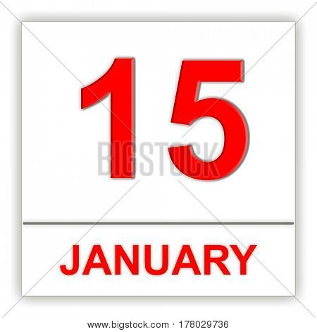 January 15. Day on the calendar. 3D illustration
