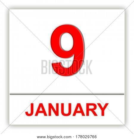 January 9. Day on the calendar. 3D illustration