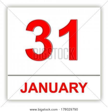 January 31. Day on the calendar. 3D illustration