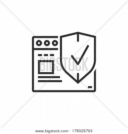 Internet security symbol. Web browser with protection shield line icon outline vector sign linear pictogram isolated on white. logo illustration