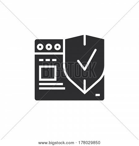 Internet security symbol. Web browser with protection shield icon vector filled flat sign solid pictogram isolated on white logo illustration