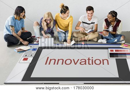 Students working network graphic overlay banner on floor